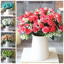 1 Bouquet 15 Head Artifical Plastic Rose Wedding Office Home