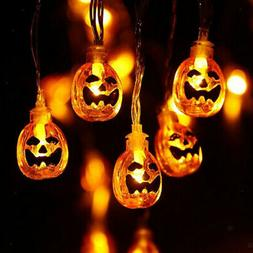 10/20 LED Pumpkin String Lights for Halloween Party Home Off