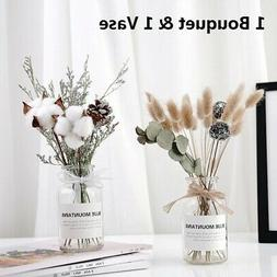 """12"""" Dried Flower Bouquet With Vase Set Home Office Decoratio"""