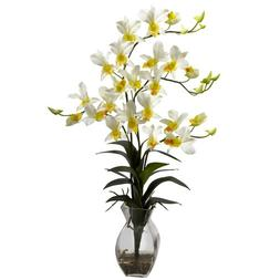 Nearly Natural 1292-CR Dendrobium Orchid with Vase Arrangeme