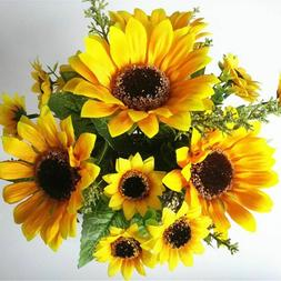 13 Heads Decoration Artificial Fake Silk Sunflower Flowers o