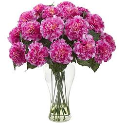 Nearly Natural 1403-DP Carnation Arrangement with Vase, Dark