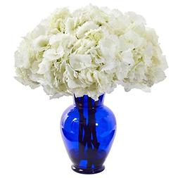 Nearly Natural 1655-WH Hydrangea Artificial Blue Vase Silk A