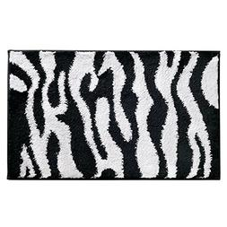 InterDesign Zebra Non-Slip Microfiber Accent Rug for Bathroo