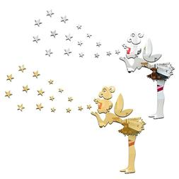 16pcs 3D Star Shape Wall Stickers  Mirror Surface Room Home