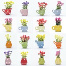 1PC Mini Simulation Green Plant Flower Indoor potted Garden