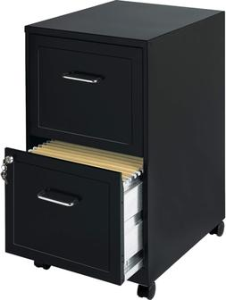 """2 Pack - Steel Mobile File Cabinet, 2-dr, 14-1/4""""x18""""x24-1/2"""