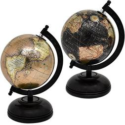 2 Decorative Glossy World Globes with Wooden Stand for Home