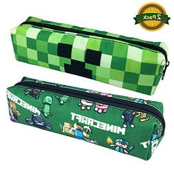2 Packs Minecraft Pencil Box Case Holder Bag, Cool Pencil Sc