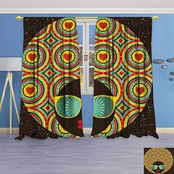 Philiphome 2 Panel Set Digital Printed Window Curtains,Afro