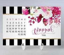 2018 Desk Calendar with Clear Acrylic Stand Blue & White Str