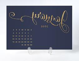 2018 Desk Calendar with Clear Acrylic Stand Navy Blue & Gold