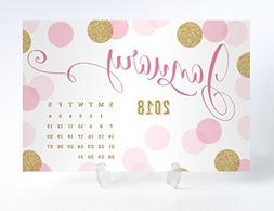 2018 Desk Calendar with Clear Acrylic Stand Pink & Gold Polk