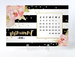 2018 Floral Desk Calendar with Clear Acrylic Stand Black & W