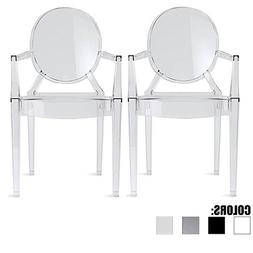 2xhome Set of 2 Clear Modern Contemporary Ghost Chairs Chair