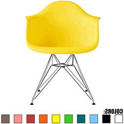 2xhome - Yellow - Eames Chair Style Armchair Natural Wood Le