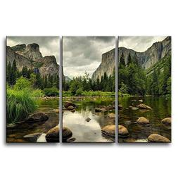 3 Pieces Green Wall Art Painting Yosemite National Park Clea