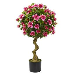 Nearly Natural 3' Azalea Artificial Topiary Tree 3, Pink