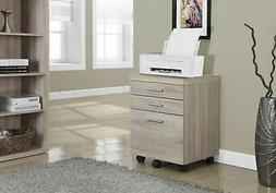 Monarch Specialties 3 Drawer File Cabinet on Casters Natural