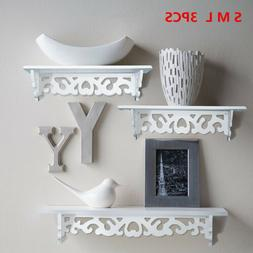 3 Floating Shelves Storage Wall Mounted Wood Bedroom Bathroo
