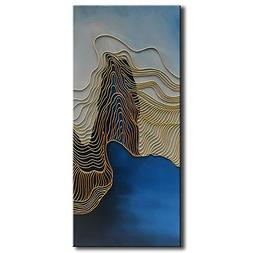 baccow NO.2 of the 3 Panel Gold Lines Blue Modern Abstract H