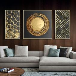 3 Panels Abstract Gold Foil Art Modern Pictures <font><b>Can