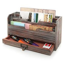 MyGift 3 Tier Country Rustic Torched Wood Office Desk File O