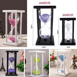 30/60Minutes Wood Sand Glass Hourglass Timer Clock Home Offi