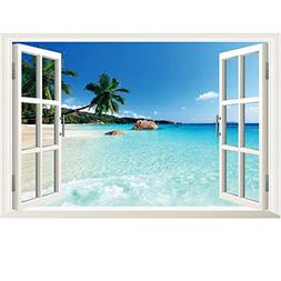 3D Beach Seascape Fake Windows Wall Stickers Removable Faux