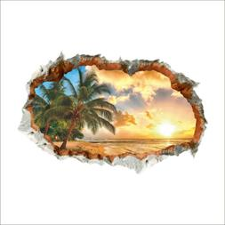 3D Beach Sunshine Wall Sticker Decal Decor Vinyl Home Office