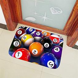 BIBITIME 3D Billiards Floor Mat Flannel Doormat Kitchen Entr