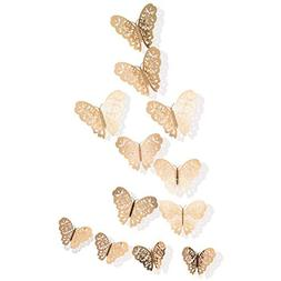 36PCS 3D Butterfly Stickers, Golden Butterfly Wall Stickers