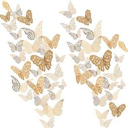 Bememo 72 Pieces 3D Butterfly Wall Decals Sticker Wall Decal