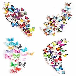 80 x PCS 3D Colorful Butterfly Wall Stickers DIY Art Decor C