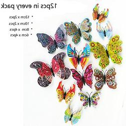 Amaonm 24 PCS 3D Cute Cartoon Animails Butterfly Wall Decals
