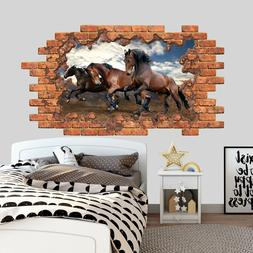 3D Effect Horse Wall Decal Sticker Hole in the Wall Mural De