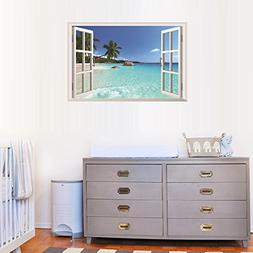 BIBITIME 3D Fake Window View Decal Sea Beach Coconut Tree Re