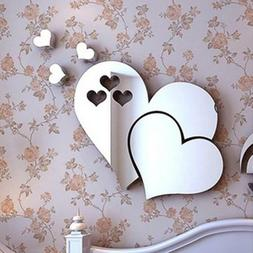 3D Mirror Love Heart Wall Sticker DIY Home Room Office Art M