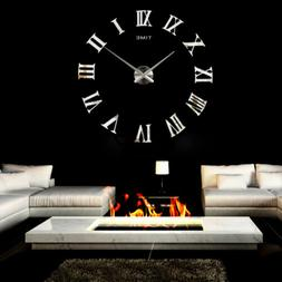 3D Mirror Luxury Modern DIY Large Wall Clock Surface Sticker