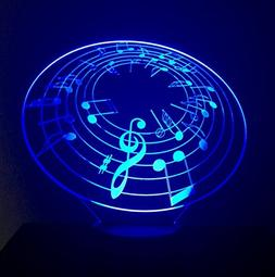 3D LED Night Light - Music Note Light - Music Lamp - 7 Chang