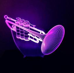 3D LED Night Light - Trumpet Light - Trumpet Lamp - 7 Changi