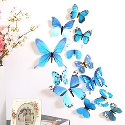 Amaonm 24 Pcs 3D PVC Colorful Butterfly Wall Decals Removabl