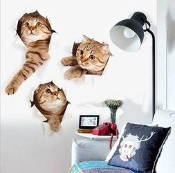 ZRSE 3D Removable Cartoon Animal Cats Large Wall Stickers |