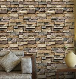 "BIBITIME 17.71"" x 374"" 3D Natural Rock Wallpaper Wall Sticke"