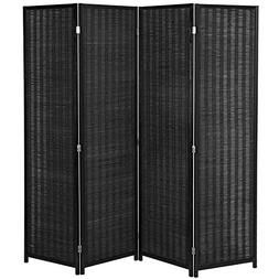MyGift 4-Panel Woven Bamboo Folding Room Divider, Free Stand