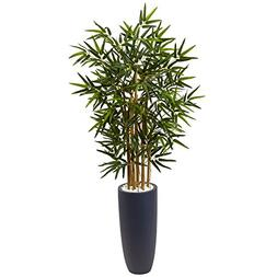 Nearly Natural 4' Bamboo Artificial Tree in Gray Cylinder