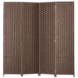 MyGift 4 Panel Hinged Room Divider, Woven Paper Rattan Priva