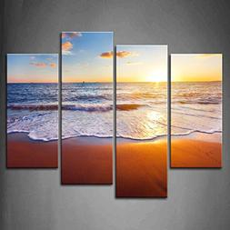 4 Panel Wall Art Sunset And Beach With Sea Wave Painting The