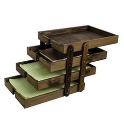 4 Tier Collapsible Vintage Wood Document Tray Organizer, Exp