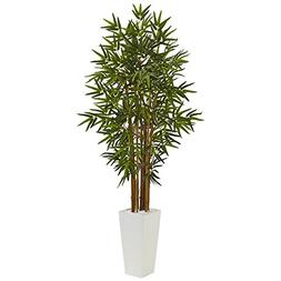 Nearly Natural 5' Bamboo Artificial Tree in White Tower Pl